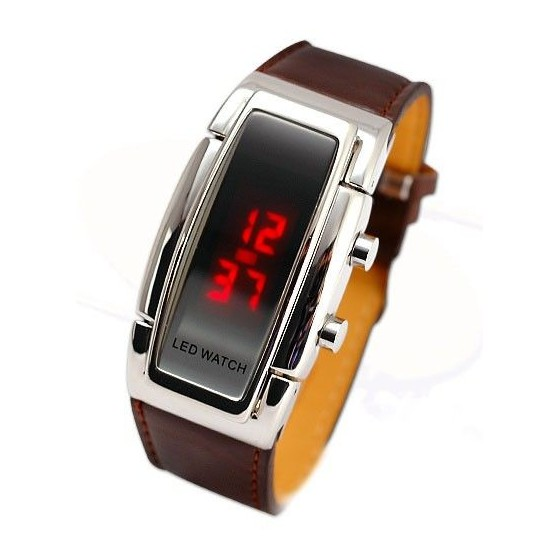 Reloj Digital Correa de Piel Marron Fashion con Led Rojos Barato