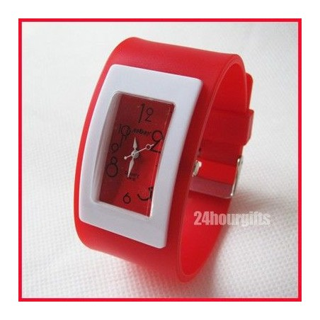 Reloj Analogico de Goma Color Rojo Moda Fashion Barato