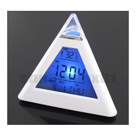 Despertador Digital Led Colores Piramide Con Termometro Barato