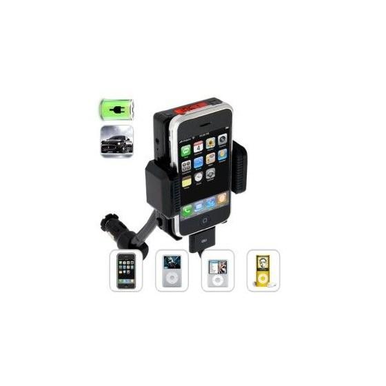 Soporte para Iphone 3 y 4 con trasmisor de fm y mando barato