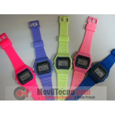 Reloj Digital Colores Retro de Goma Fashion Barato