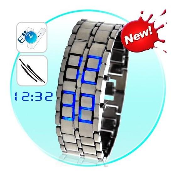 Reloj Digital de Acero Mujer Brazalete Fashion Led Azules Barato
