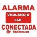 CARTEL Adhesivo DISUASORIO de Alarma Conectada 24H