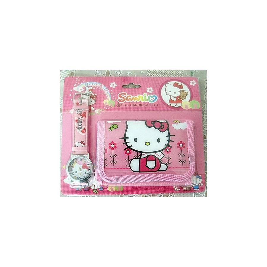 Reloj de Hello Kitty con Cartera para mujeres y niñas Barato