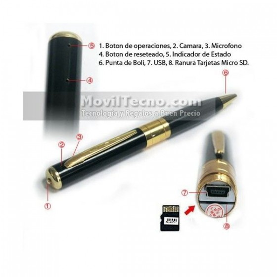 Boligrafo Espia Pen 8GB Camara oculta GRABA Audio Video Barato
