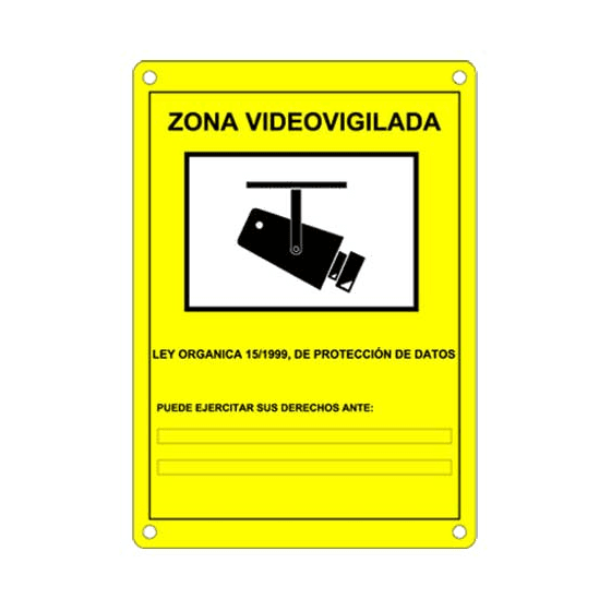 CARTEL de Zona Video Vigilada LOPD