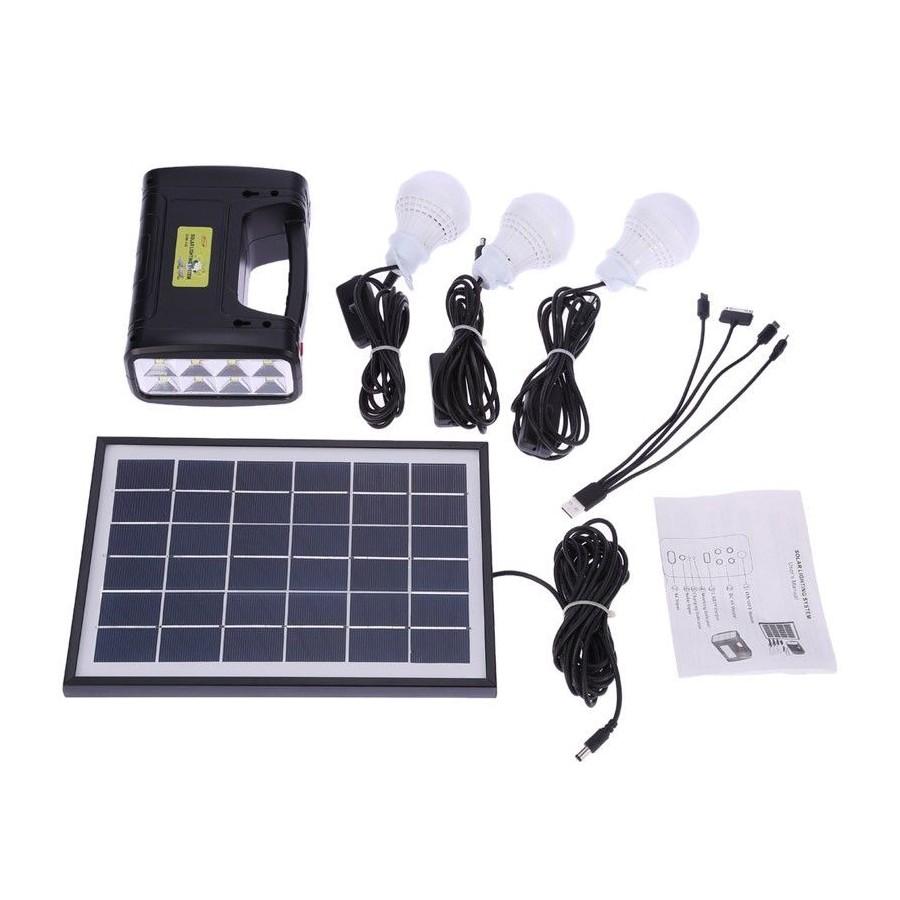 KIT SOLAR Barato linterna portatil con 3 bombillas