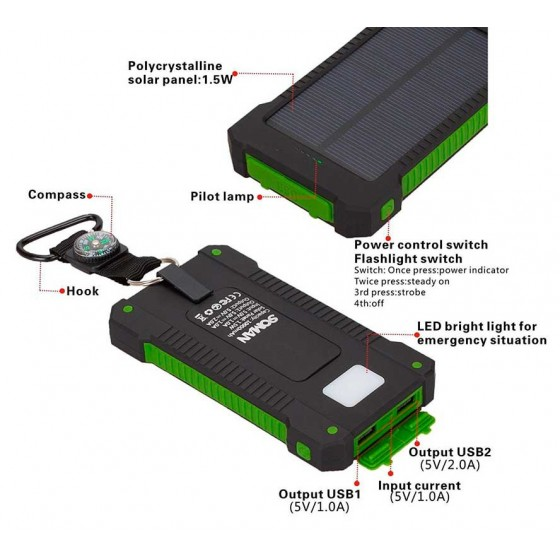CARGADOR SOLAR portatil para moviles Iphone Android