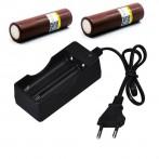 Cargador con 2 baterías 18650 incluidas