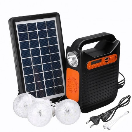 CARGADOR SOLAR Kit completo con cargador Radio Mp3 LUZ MovilTecno 816