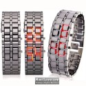 Reloj Digital de Acero Brazalete Fashion con Led Rojos Barato