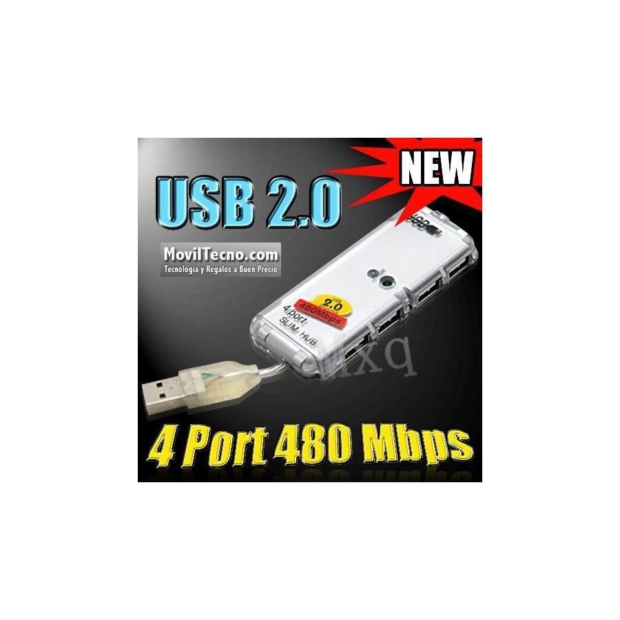 DUPLICADOR MINI HUB USB 2.0 4 PUERTOS 480 MBPS PC Y MAC BARATO