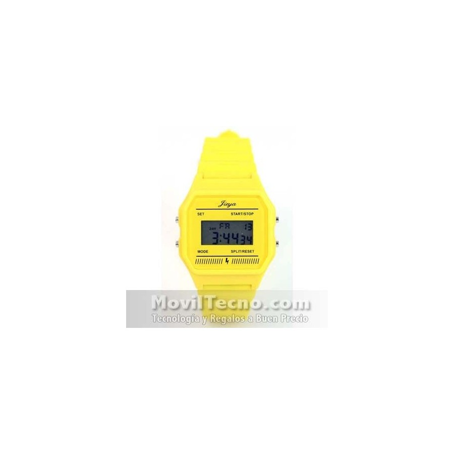 Reloj Digital de Goma Color Amarillo Retro Fashion Barato