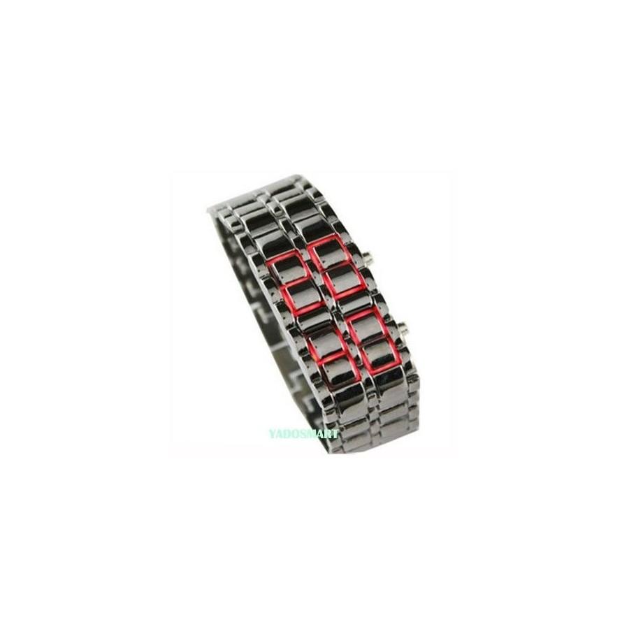 Reloj Digital de Acero Brazalete Fashion con Led Rojos Barato