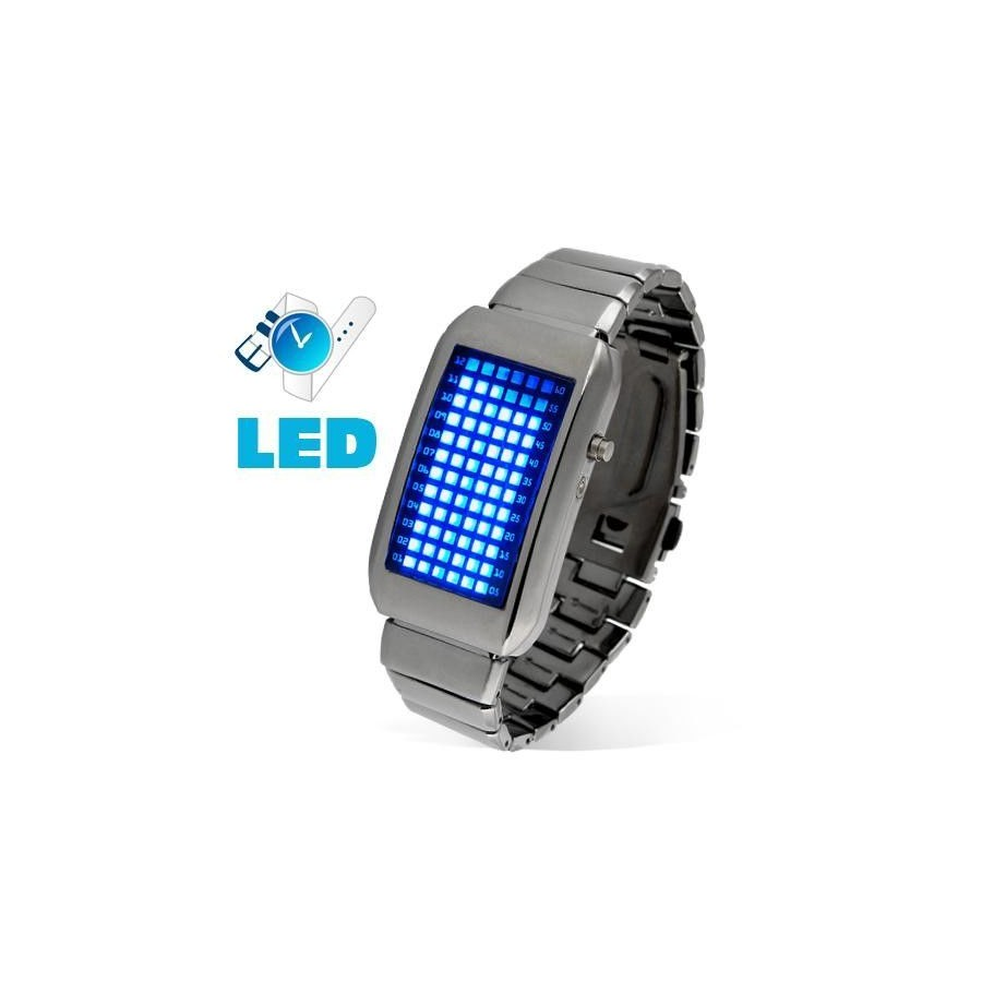 Reloj de Led 72 Azules Digital Acero Fashion Barato