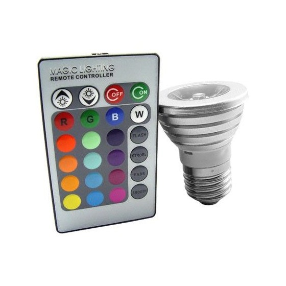 BOMBILLA LED COLORES Multicolor Lampara con mando a distancia Barata