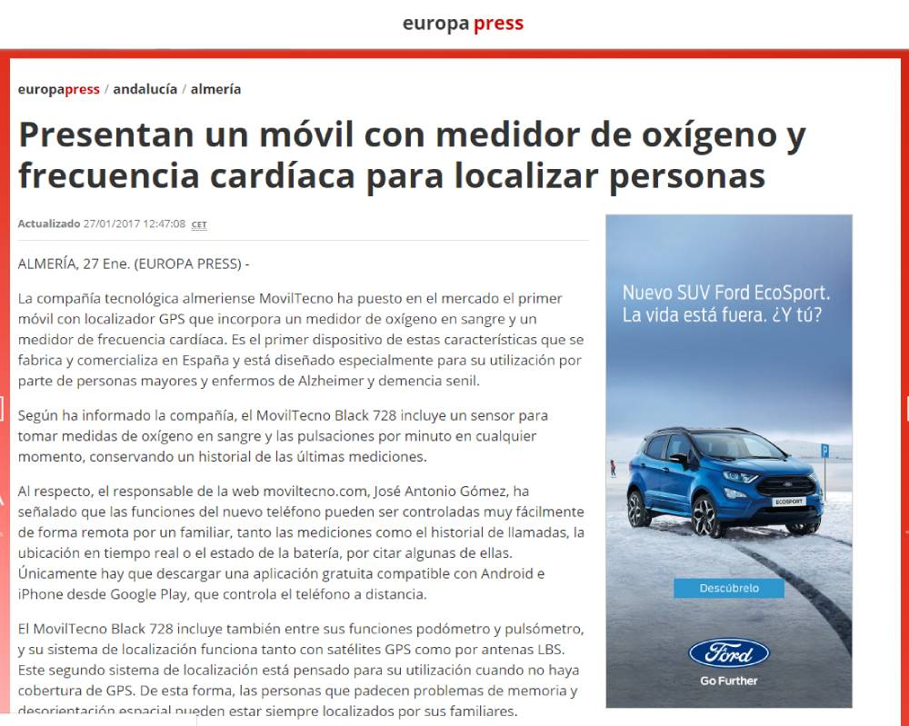 MovilTecno.com en la agencia Europa Press