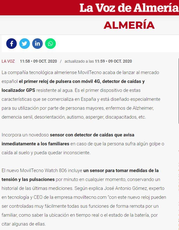 MovilTecno 806 en la Voz de Almería